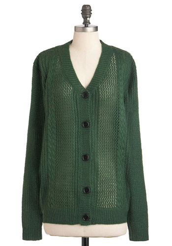 Say You Chervil Cardigan - Green, Solid, Buttons, Casual, Long Sleeve, Fall, Knitted, Mid-length