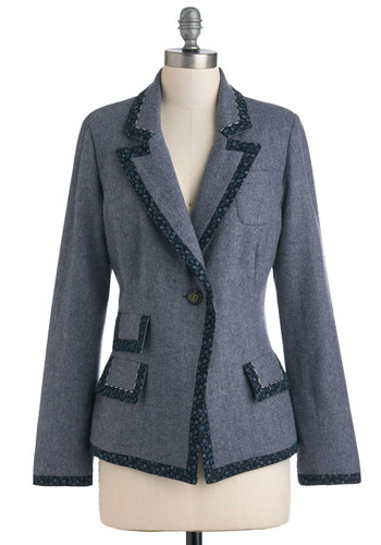 Crafting Your Speech Blazer by Nick & Mo - Mid-length, 2, Blue, Polka Dots, Buttons, Pockets, Work, Long Sleeve, Floral, Herringbone, Scholastic/Collegiate