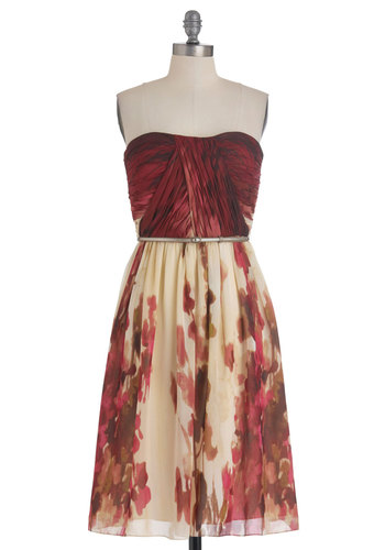 The Scenery at Sunset Dress - Red, Brown, Tan / Cream, Floral, Special Occasion, Wedding, Shift, Strapless, Belted, Ruching, Chiffon, Long, Exclusives, Bridesmaid