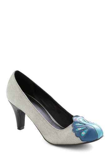 Dazzling Display Heel - Mid, Silver, Print with Animals, Blue, Formal, Top Rated