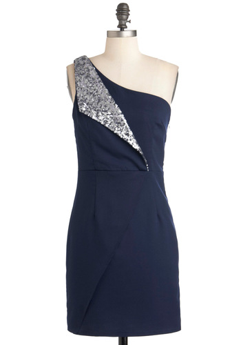 Cocktails with Coworkers Dress - Short, Blue, Silver, Solid, Sequins, Shift, One Shoulder, Party, Holiday Party, Special Occasion