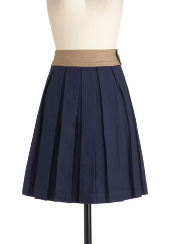 Journalism Seminar Skirt by Dear Creatures - Cotton, Mid-length, Blue, Tan / Cream, Solid, Buttons, Pleats, Pockets, Work, Casual, Vintage Inspired, Scholastic/Collegiate