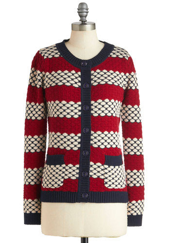 Knit on the Town Cardigan by Dear Creatures - Cotton, Mid-length, Red, Blue, White, Stripes, Knitted, Casual, Menswear Inspired, Vintage Inspired, Fall