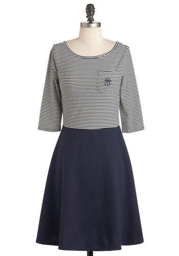 Breton Shore Breeze Dress by Dear Creatures - Cotton, Mid-length, Blue, White, Stripes, Pockets, Casual, Twofer, 3/4 Sleeve, Nautical