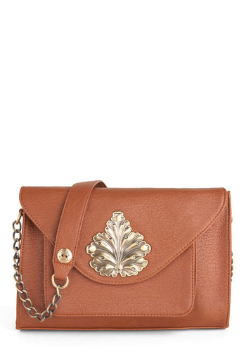 Foliage of Discovery Bag by Darling - Faux Leather, Tan, Solid, Chain, Casual, Vintage Inspired, International Designer