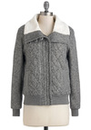 Stormy Heather Jacket - Short, Cotton, Grey, White, Solid, Casual, Long Sleeve, 2, Fall