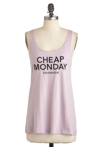 Logo-Getter Tank in Lavender by Cheap Monday - Purple, Black, Solid, Cocktail, Urban, Tank top (2 thick straps), Mid-length, Scoop