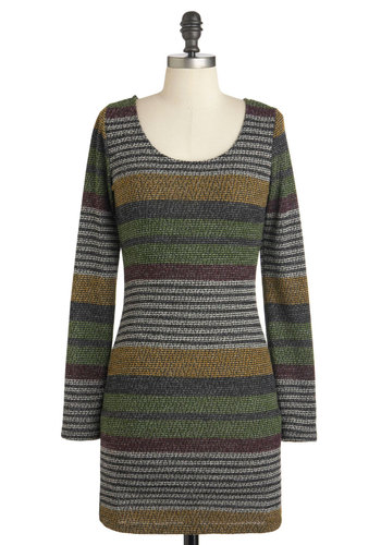 Eggplant for Fetes Dress - Stripes, Cutout, Casual, 70s, Fall, Short, Multi, Red, Yellow, Green, Black, Shift, Long Sleeve, Scoop