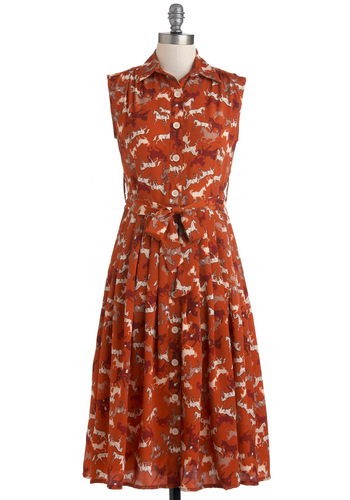 Herd All About You Dress - Tan / Cream, Print with Animals, Buttons, Casual, Shirt Dress, Sleeveless, Fall, Belted, Long, Orange, Pleats, Collared