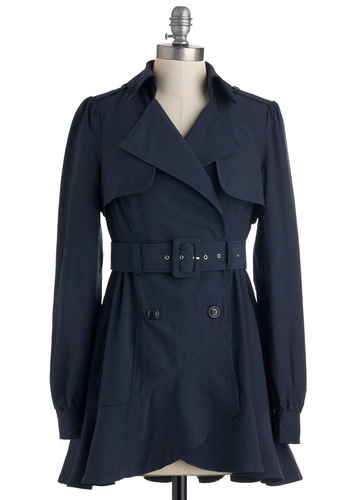 Tokyo Thrift Coat - Blue, Solid, Buttons, Epaulets, Long Sleeve, Belted, Mid-length, 2
