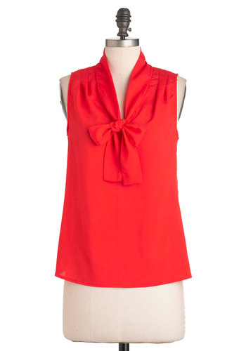 Cherry Picking Top - Red, Solid, Tie Neck, Sleeveless, Mid-length, Work, Casual, Pinup, 60s, Press Placement