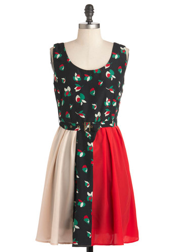 Cantina-mor Dress - Mid-length, Multi, Red, Green, Black, Floral, Belted, Casual, A-line, Sleeveless, Tan / Cream