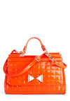 Clementine to Shine Bag - Orange, Solid, Bows, Quilted, Faux Leather