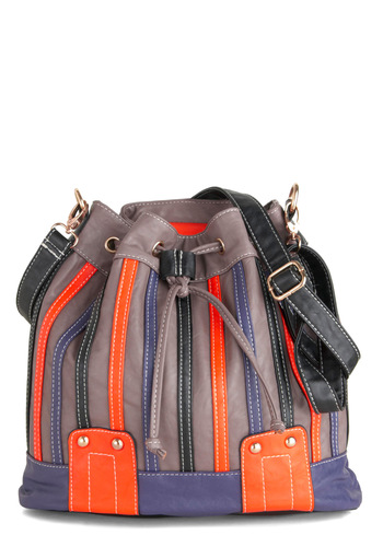 Your Turn to Drawstring Bag - Multi, Stripes, Faux Leather, Purple