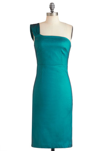 Aquamarine Accolades Dress - Long, Green, Solid, Cocktail, Sheath / Shift, One Shoulder, Vintage Inspired, Tis the Season Sale, Wedding, Party, Special Occasion, Bridesmaid