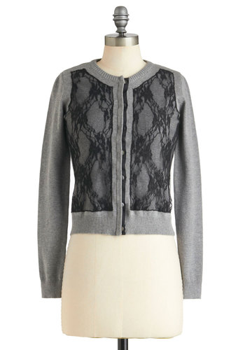 Slate Night Cardigan - Short, Grey, Black, Buttons, Lace, Work, Long Sleeve, Tis the Season Sale
