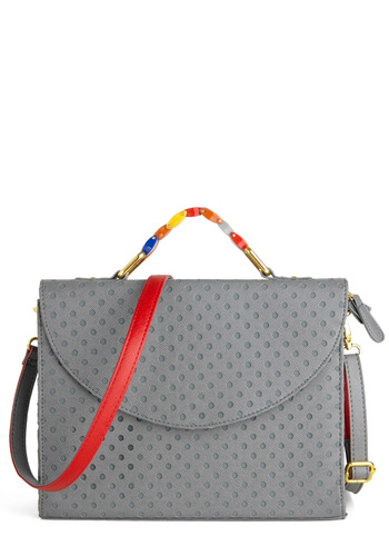 Under the Big Dots Bag - Grey, Multi, Solid, Faux Leather