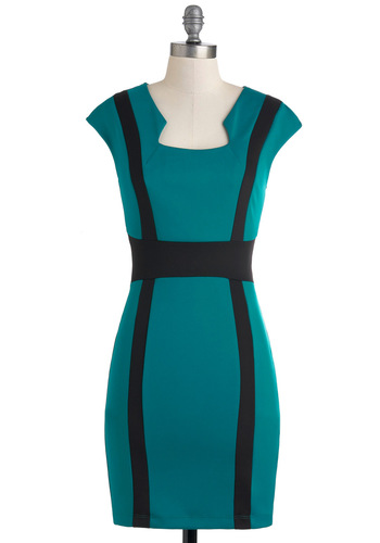 Always Teal the Truth Dress - Black, Shift, Cap Sleeves, Mid-length, Exposed zipper, Party, Girls Night Out, Urban, Green
