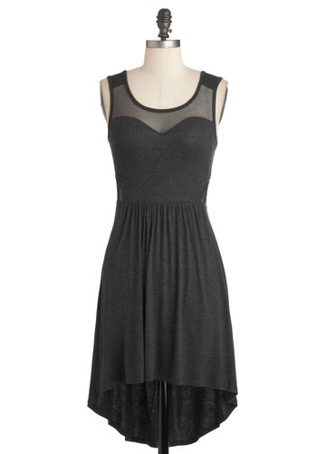 Bituminous Cool Dress - Grey, Solid, Cutout, Party, Girls Night Out, A-line, Sleeveless, Jersey, Short, Scoop
