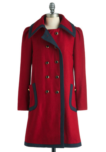 Cherry Warm and Cozy Coat by Dear Creatures - Long, Red, Blue, Solid, Buttons, Double Breasted, Winter, Pockets, 4, Casual, Vintage Inspired