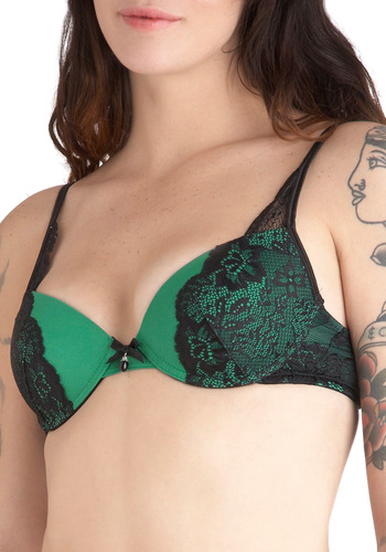 On Emerald Isle Push-Up Bra - Green, Black, Solid, Bows, Lace