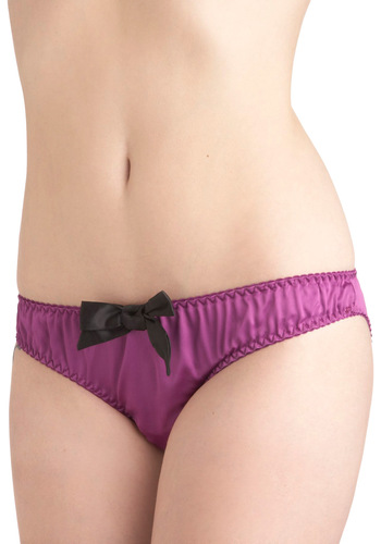 Heart of the Outfit Undies - Purple, Black, Solid, Bows, Satin, International Designer