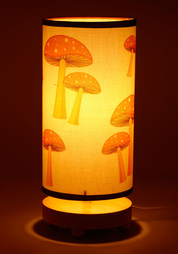 Magic Wander Lamp by Whimsy Designs - Dorm Decor, Cream, Red, Novelty Print, Mushrooms