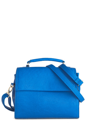 Too Good to Be Blue Bag - Blue, Solid, Casual, Vintage Inspired
