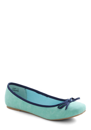 Walking on Air Flat - Blue, Bows, Trim, Flat, Casual, Vintage Inspired