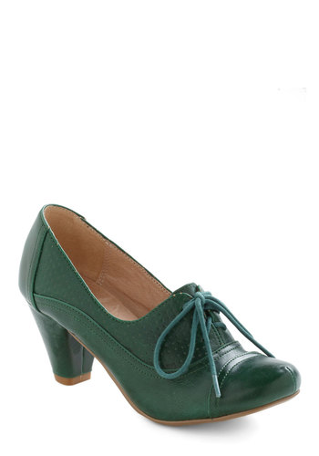 Right Here Heel in Green - Leather, Faux Leather, Low, Green, Vintage Inspired, 20s, 30s, Lace Up, Tis the Season Sale, Variation, Work, Fall, Top Rated, Gifts Sale