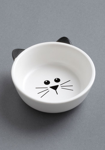Mew Plate Special Pet Bowl - White, Black, Print with Animals, Quirky, Cats, Under $20