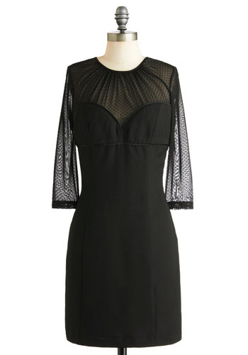 Guest Host Glam Dress - Black, Cutout, Party, Shift, 3/4 Sleeve, Winter, Solid, Sheer, Mid-length