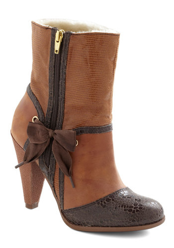 Steam Bow-t Boot by Poetic License - High, Leather, Bows, Brown, Animal Print, Exposed zipper