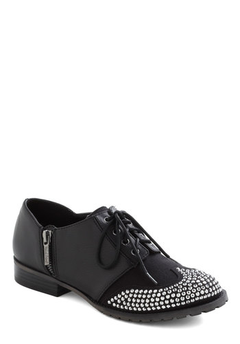 Twinkle Wingtip Flats - Low, Faux Leather, Black, Menswear Inspired, Lace Up, Rhinestones