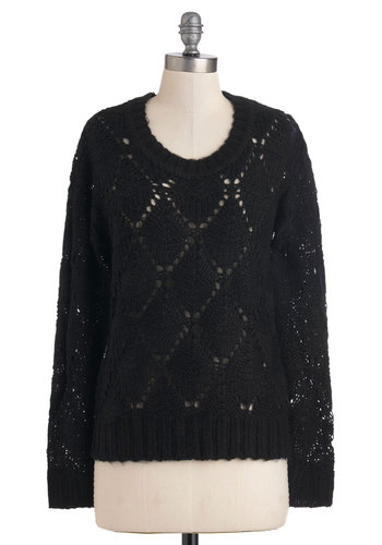 Causing Cozy Sweater - Mid-length, Black, Solid, Knitted, Long Sleeve, Winter
