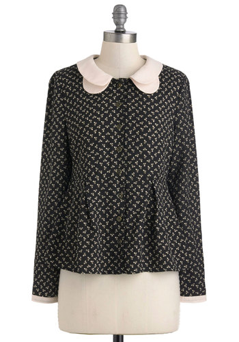 Win You Clover Top - Mid-length, Grey, White, Print, Buttons, Peter Pan Collar, Long Sleeve, Casual, Multi