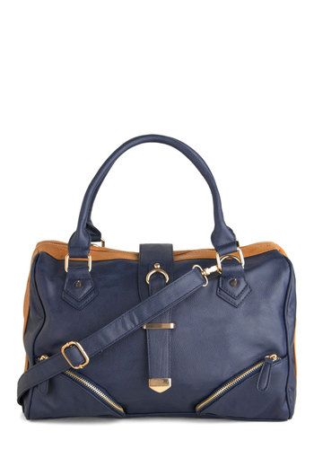 Fashion Framework Bag - Blue, Tan / Cream, Solid, Exposed zipper