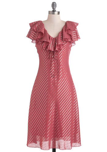 High Tea Rose Dress - Pink, Silver, Stripes, Ruffles, Party, Long, A-line