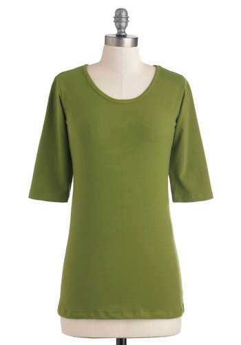 Yoga Party Top - Green, Solid, Casual, Short Sleeves, Cotton, Mid-length