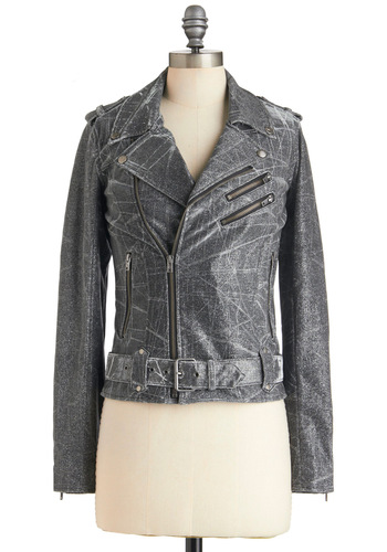 Motor on Over Jacket - Cotton, 2, Silver, Urban, Exposed zipper, Short