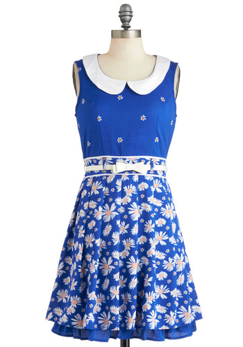 Patch of Petals Dress by Yumi - Blue, Floral, Peter Pan Collar, Pleats, Belted, A-line, Sleeveless, Spring, Collared, Daytime Party, Bows