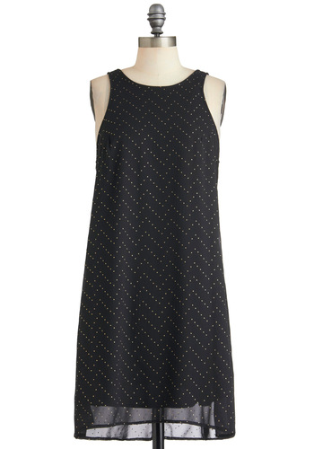A Cassiopeia for You Dress - Black, Sheath / Shift, Sleeveless, Mid-length, Party, Gold, Backless, Studs