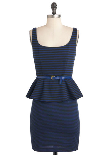 Change Your Stripes Dress - Blue, Black, Stripes, Belted, Peplum, Tank top (2 thick straps), Party