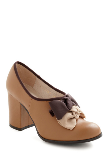 Dinner and a Bow Heel - Tan, Brown, Bows, High, Work, Vintage Inspired, Fall, Leather, Holiday Party