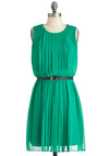 Accordion Welcome Dress - Green, Solid, Pleats, Belted, Party, A-line, Sleeveless, Mid-length, Work