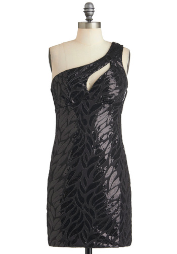 A Leaf of Your Own Dress - Black, Solid, Cutout, Sequins, Party, Shift, One Shoulder, Girls Night Out, Statement