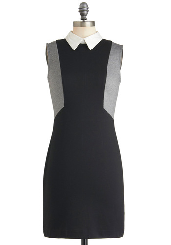 Greyscale Graphics Dress - Black, Grey, Solid, Work, Casual, Mod, Shift, Sleeveless, Fall, Mid-length, Press Placement