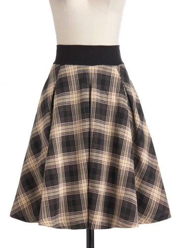 Fashionable in the Fog Skirt by Effie's Heart - Tan / Cream, Black, Plaid, Work, Scholastic/Collegiate, A-line, Fall, Cotton, Long, Pockets