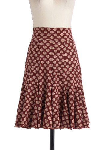 To Etch Her Own Skirt by Effie's Heart - Red, Tan / Cream, Polka Dots, Casual, Cotton, Pockets, Work, Mid-length
