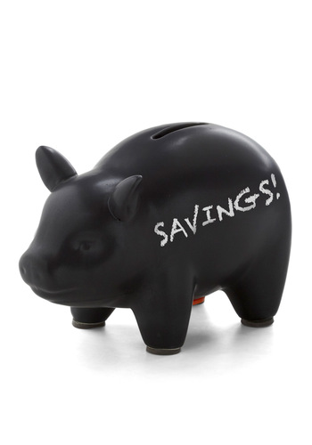 Spell the Savings Chalkboard Bank - Black, Urban, Quirky, Minimal